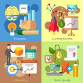 Set of flat design concepts of education growing business marketing good quality on colored background