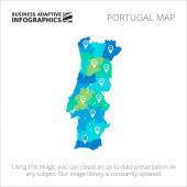 Editable template of detailed map of Portugal with map pointers isolated on white