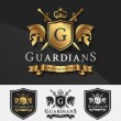 Постер, плакат: Shield and Two Guardians with cross knight crest logo