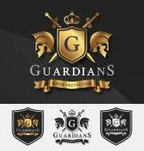Shield and Two Guardians with cross knight crest logo template for Protection Victory Fighting Safety concept Vector illustration