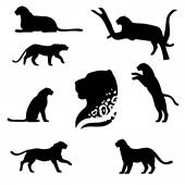 Leopard set of black silhouettes Icons and illustrations of animals Wild animals pattern