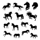 Horse big set of black silhouettes Icons and illustrations of animals Wild animals pattern