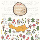Cute hand drawn doodle card with fox and flowers