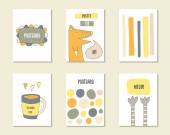 Cute hand drawn cards set Vector illustration