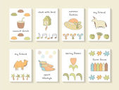Cute hand drawn cards 8 vector illustration