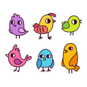 Roztomilý kreslený ptáci sada