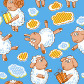 Cartoon vector seamless pattern with cute sheep and clouds