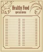 Zdravé jídlo menu