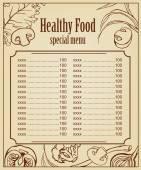 Vegetariánské menu card