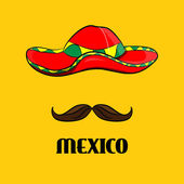 Poster Sombrero and mustache real Mexican accessories
