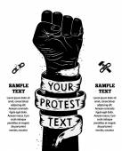 Raised fist held in protest Vector illustration