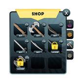 Hra Ui. Ukládejte obrazovku s výběrem subjektů, zbraně, útok, obrana, sílu a další mobilní a prohlížeče on-line aplikací a her. Vektorové ilustrace