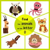 Funny learning maze game find all 3 of cute wild animals to the letter O sea dweller octopus woodsy owl and sea shell Educational page for children Vector illustration