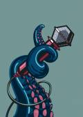 A template for music posters with a tentacle holding a microphone