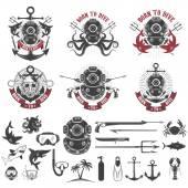 Born to dive Set of vintage diver helmets diver label templates and design elements  Design elements for logo label emblem sign badge brand mark Vector illustration