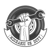 Mechanic on duty vector logo template