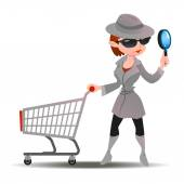 Mystery shopper woman in spy coat boots sunglasses and hat with magnifier and shopping cart Full-length vector