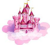 Vektorové růžová princezna kouzelný hrad