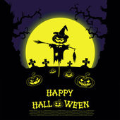 Vector Halloween landscape with scarecrow, pumpkins, scary trees, graves and cross on big moon background