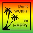 Постер, плакат: Reggae background with black pulms silhouette and quote