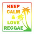 Постер, плакат: Reggae background with gradient pulms silhouette and quote