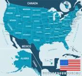 USA, Usa - Karte, Flagge und Navigation-Etiketten - Abbildung