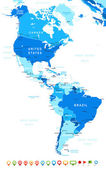 North and South America map - highly detailed vector illustration Image contains land contours country and land names city names water object names navigation icons