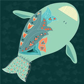 Vector Illustration: cute fish with floral ornamentVector Illustration: cute fish with floral ornament