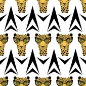 Vector pattern seamless Wallpaper with a picture of the muzzle of the leopard in trendy glasses