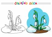 Coloring book or page Snow melts and grow the first spring flowers - snowdrops Vector illustration
