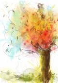 Albero astratto, colorato, acquerello con gli uccelli su priorità bassa bianca