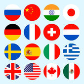 Circle flags vector of the world Flags icons in flat style Simple vector flags of the countries