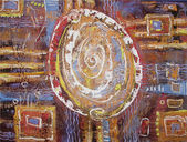 Abstract acrylic painting egg