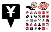 Yuan Map Pointer icon with bonus clip art Vector illustration style is flat iconic bicolor symbols intensive red and black colors white background