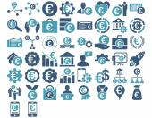 Euro Business Iconst These flat bicolor icons use cyan and blue colors Vector images are isolated on a white background