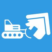 Demolition icon Vector style is flat symbols white color rounded angles blue background