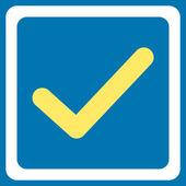 Icona della casella di controllo selezionata. Questo simbolo di vettore piatto usa il giallo e bianchi colori, arrotondati gli angoli e isolato su una priorità bassa blu
