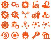 Settings and Tools Icons Vector set style is flat images orange color isolated on a white background