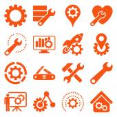 Options and service tools icon set Vector style is flat symbols orange color rounded angles white background