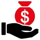 Icona di pagamento da Set Bicolor aziendali. Utilizza questo simbolo vettoriale piatto rosso intenso e colori nero, arrotondati gli angoli e isolato su sfondo bianco