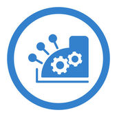 Cash register vector icon This rounded flat symbol is drawn with cobalt color on a white background