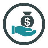 Icona di vettore del pagamento. Questo piatto arrotondato simbolo utilizza colori blu morbido e isolato su sfondo bianco