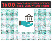Bank Service vector icon and 1600 other business service tools medical care software toolbar web interface pictograms Style is bicolor flat symbols grey and cyan colors rounded angles white