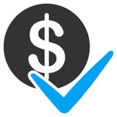 Approvare i pagamenti vettoriale icona. Lo stile è piatta bicolore blu e grigio simbolo, gli angoli arrotondati, sfondo bianco