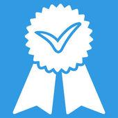 Icona di vettore di approvazione. Lo stile è di colore bianco, piatto simbolo, gli angoli arrotondati, sfondo blu