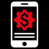 Mobile Bank Options vector icon Style is bicolor flat symbol red and white colors rounded angles black background