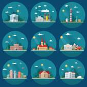 Mega Set of icons for your design School Town Hall university hospital church TV city factory supermarket Flat style vector illustration