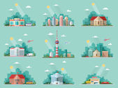 Mega Set of icons for your design School Town Hall the university hospital church TV city museum supermarket car wash Bank Flat style vector illustration