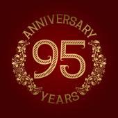 Golden emblem of ninety fifth anniversary Celebration patterned sign on red