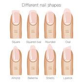 Sada různých tvarů nehtů